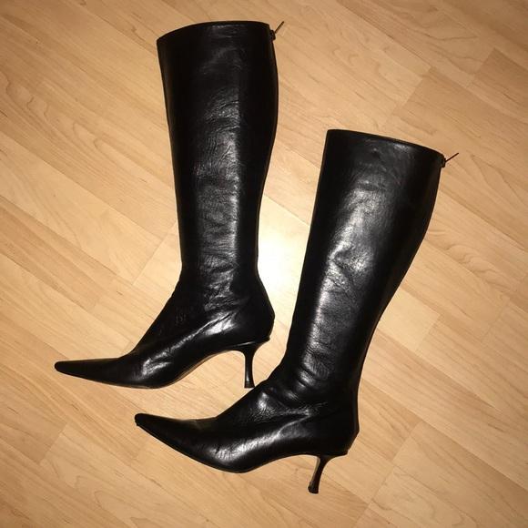 f8983d524a8 Jimmy Choo leather boots kitten heel